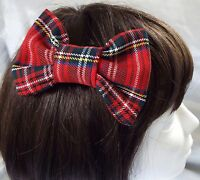 ROYAL STEWART RED TARTAN 4 INCH HAIR BOW ALLIGATOR CLIP LADIES GIRLS NEW