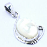 Solid 925 Sterling Silver Mother Of Pearl Pendant Necklace Jewelry #2863