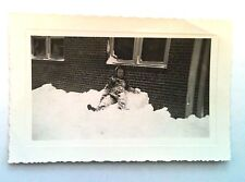 OLD PICTURES RECOVERED FROM ESTATE YOUNG BOY KID IN JACKET LAYING IN SNOW WINTER