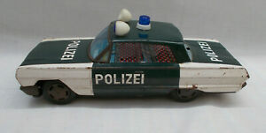 Vintage Tin Plate Friction Drive Polizei Police Car Made In Korea