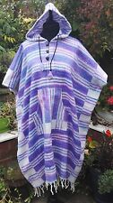 Fair Trade Purple & Pink Striped Warm Brushed Cotton Hooded Tassel Long Poncho