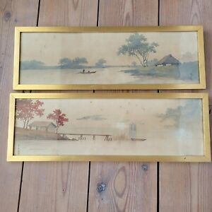 Set of 2 Vintage Oriental Watercolour Paintings Landscape Framed and signed
