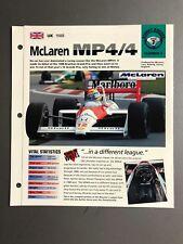 "1988 McLaren MP4/4 F1 Race CAR IMP ""Hot Cars"" Spec Sheet Folder Brochure Awesome"