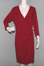 NWT Womens Laundry by Design Red Faux Wrap 3/4 Sleeve V Neck Dress Sz 12