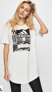 adidas Women's Must Haves Graphic Tee T-Shirt White & Black ED6173