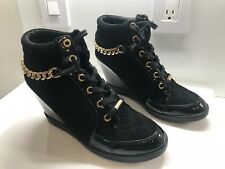 Guess Women's Shoes Size 8 Platform Wedge Black Designer Shoes Preowned