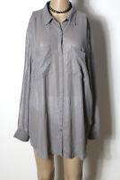 H&M Bluse Gr. 46 dunkel-silber/grau Chiffon Long Bluse in Metall-Optik