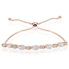 Rose Gold Flashed Silver CZ Marquise and Oval-cut Adjustable Bracelet