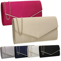 Women Ladies Blue Pink Black Style Satin Party Prom Wedding Clutch Flapover Bag