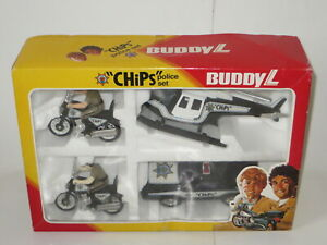 vintage Buddy L tin + plastic CHIPS tv series Californian Highway Police toy set