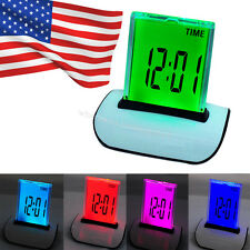 USA 7 Colors LED Change Digital Alarm Clock LCD Light Thermometer Calendar Date