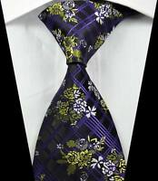Classic Florals Checks Purple White JACQUARD WOVEN 100% Silk Men's Tie Necktie