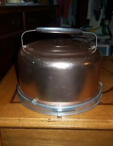 Vintage Mirro Rose Gold Aluminum Cake Carrier With Handle