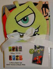 New Disney Pixar Monsters Inc Toy Story Incredibles Towel Wash Mitt Bath Set
