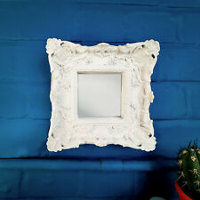 Silver Ornate Mirror Framed Mini Wall Square French Baroque Antique Shabby Chic
