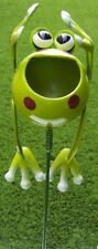 Garden Lawn Yard Decoration animal Frog leaping painted  metal pick stake NEW