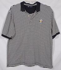 OXFORD GOLF Mens Black White Striped Polo Shirt XL Short Sleeves Longaberger