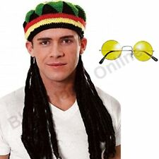 Jamaican Rasta Hat with Dreadlocks Wig  Yellow Glasses Caribbean Fancy Dress