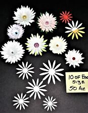WHITE/IVORY PEARLISED PAPER FLOWER CUT OUTS TO MAKE YOUR OWN  FLOWERS x 50 pce