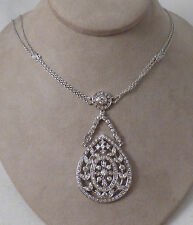 Sterling & Diamonique Lace Pear Shaped Pendant with Necklace by Joseph Esposito