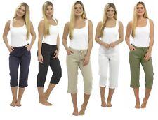 Womens Linen 3/4 Length Trousers Ladies Cropped Capri Pants Shorts Size 10-20