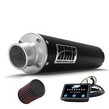 HMF Performance Slip On Exhaust Pipe Muffler Black + EFI + K&N Brute Force 750