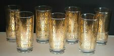 RARE SET (7) GEORGES BRIARD 22KT GOLD HIGHBALL GLASSES