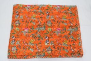 Indian Twin Kantha Quilt Floral Print Bed Cover Bedspread Blanket Throw Orange