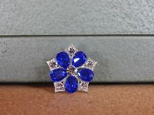 Costume Jewellery Brooch Blue & Clear Daisy Pattern Pentagon 3cm.