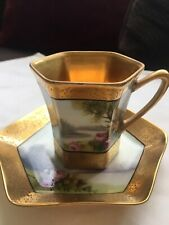 Antique Hexagon Noritake Hand Painted Beautiful Scene Chocolate Cup & Saucer