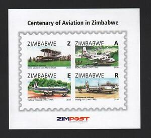 2020 ZIMBABWE - CENTENARY of AVIATION Minisheet MS imperf MNH