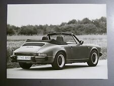 """1985 Porsche 911 Carrera Cabriolet B&W Press Factory Issued Photo """"Werkfoto"""""""