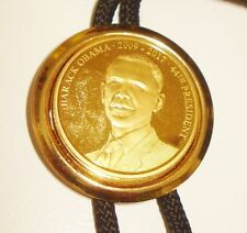 24K GOLD PLATE COIN BARACK OBAMA TOKEN BOLO TIE BEAUTIFUL DESIGN NR