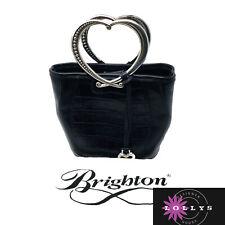 Brighton black leather handbag With Dust Bag A heart Silver Handle Slightly Used