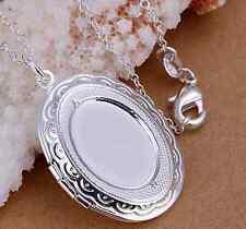 versilbertes Medaillon Bildermedaillon Silbermedaillon Fotomedaillon ovales Meda