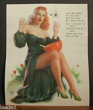 Earl Moran 1949 Calendar Image Redhead Little Miss Muffet Scared by Spider
