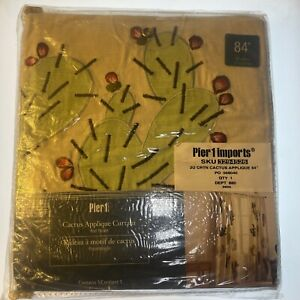 "Pier 1 Imports 84"" Cactus Appliqué Curtain Rod Pocket 48x84 in ; 121x213 cm"
