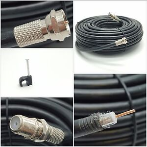 BLACK 30m RG6 Coaxial Satellite Extension Cable For Sky HD Q Virgin Freesat TV