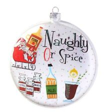 "Raz HOLIDAY SPIRITS Glass Ornament 5"" Cocktail ""Naughty Or Spice"" 3952852"