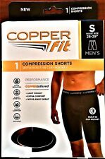 "Mens Copper Fit Sm Black Compression Shorts Briefs 28-29"" Cup Pocket Brand New"