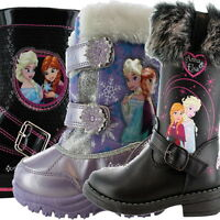 Girls Disney Frozen Winter Boots Wellington Boots Wellies Sizes 6-12 Snow Sequin