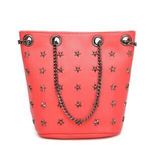 Star Studded Womens Red Tote Bag Ladies Designer Shoulder Handbag