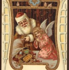 ANGEL BLESSES TOYS,OLD WORLD FATHER CHRISTMAS IN BROWN ROBE,SANTA,1905 POSTCARD