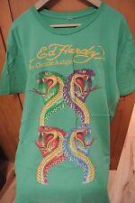 Men's Ed Hardy T-Shirt T shirt 2XL XXL 4 Serpents Teal Blue Green Yellow Letters