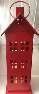 """Martha Stewart Collection Red Iron LED Light Up Christmas House 17"""" H"""