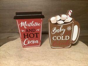 Warm Winter Season Drinks Tabletop Wooden Block Sign Set - Set of 2 NEW FUN!