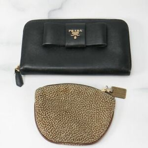 PRADA Red wall Saffiano Leather Black Wallet Coin Purse Lot of 2 Used Auth 82931