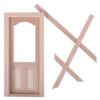 1:12 Dollhouse Miniature Unpainted Wooden Door Furniture Model DIY Accessories√