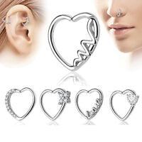 18G Crystal Nose Ring Ear Tragus Stainless Steel Helix Cartilage Hoop Earrings