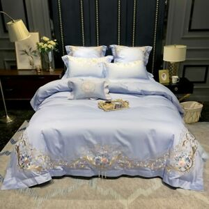 Floral Bedding Set Duvet Cover with Pearl Queen King Size Bed Sheet 4PCS